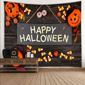 Happy Halloween Letter Pumpkin Wall Tapestry